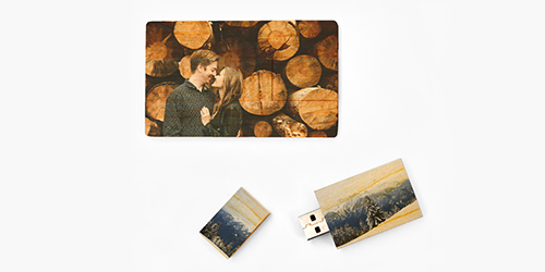 Happy couple posing together on Custom USB Drives
