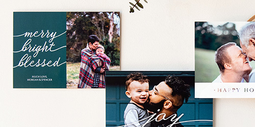 Couple kissing on Custom Holiday Photo Card