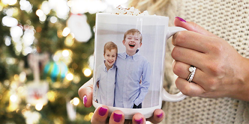 Two siblings on a Custom Photo Mug