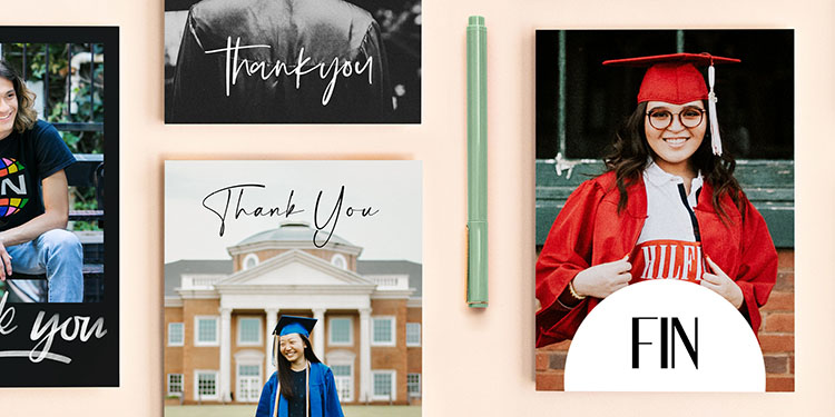 Two teens smiling on Custom Graduation Thank You Cards