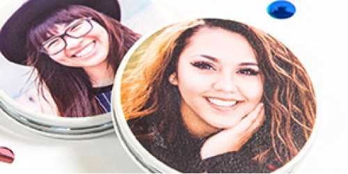 two girls smiling on Custom Compact Mirrors
