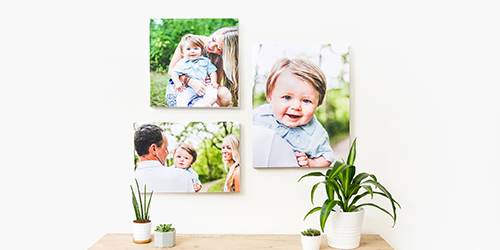 Family of four with their dog on a Custom Wall Decor Photo Print