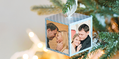 Couple kissing on a Custom Image Cube Christmas Ornament