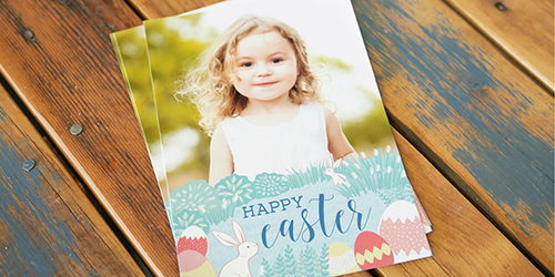 Smiling little blonde girl on a Custom Happy Easter Photo Card