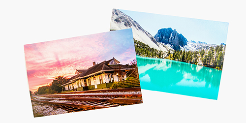 Sunset of train tracks and a cabin and a seperate photo of a lake with snowy mountains on a Custom Glossy Photo Print