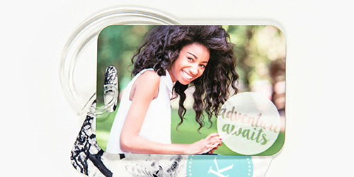 personalized luggage tag of a smiling teenage girl