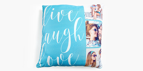 Couple smiling on a Custom Photo Pillows
