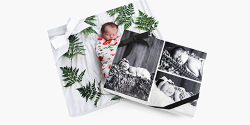 Sleeping baby on a Custom Presentation Box