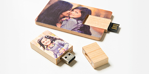 Mom and her daughter on a Custom USB Drive