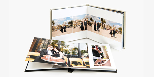 Newlywed couple photo gallery in front of the Eiffel Tower in a Custom Wedding Album
