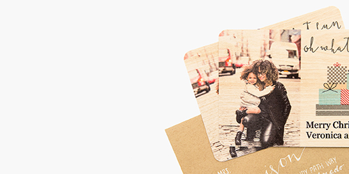 Hugging couple on a Custom Wood Photo Card