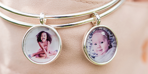Three girls smiling on Custom Photo Bracelets