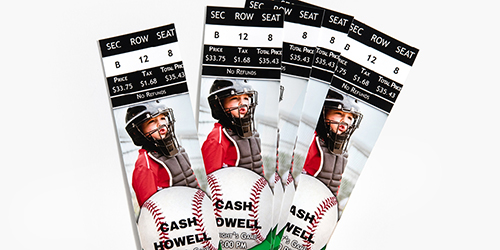 Baseball player posing on custom sports tickets
