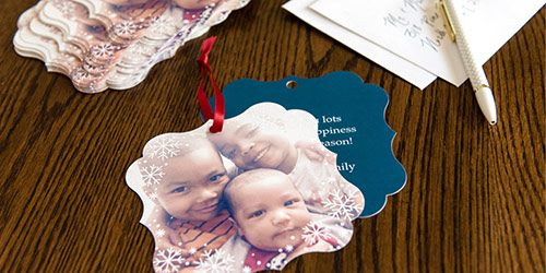 Three siblings on a Custom Card Ornament