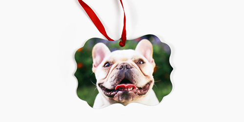 Pug dog with its tongue out on a Custom Metal Ornament