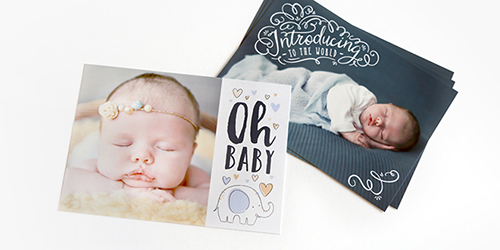 Sleeping baby on a Custom Birth Announcement Photo Card