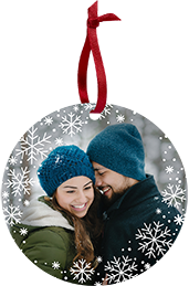 Couple in matching beanies in the snow on a Custom Card Ornament