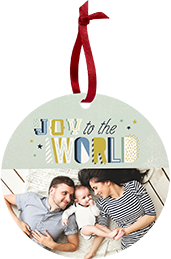 Mom and Dad with their newborn baby lying in bed on a Custom Card Ornament