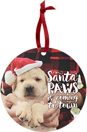 Puppy with a Santa hat on a Custom Card Ornament