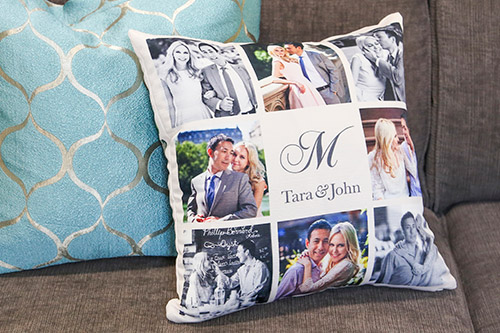 Photo gallery of Newlywed couple on a Custom Pillow