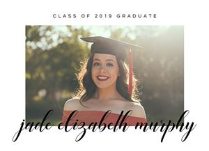 Smiling girl with graduation cap on a Custom Graduation Announcement Card