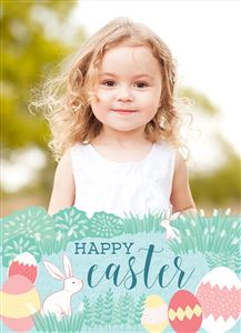 Smiling little girl on a Custom Happy Easter Photo Card