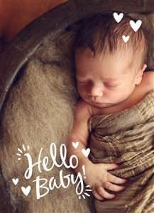 Baby sleeping on a brown blanket on a Custom Birth Announcement Card
