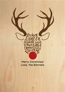Reindeer Themed Custom Wood Card