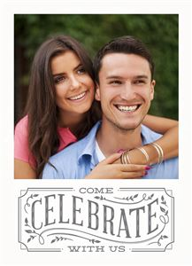 Smiling  couple posing for a picture on a Custom Celebrate With Us Photo Card