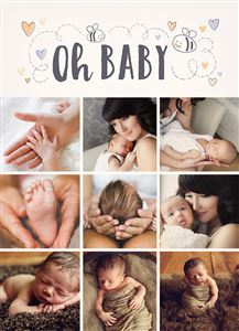 Baby Boy Announcement Photo Card