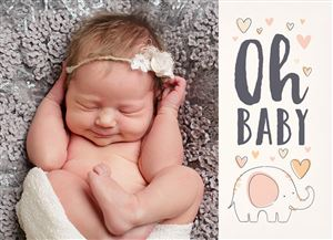 Sleeping baby girl on a Custom Baby Announcement Photo Card