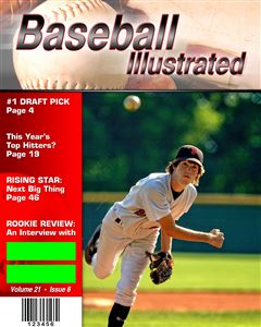 Pitcher throwing a baseball on the cover of a custom Magazine