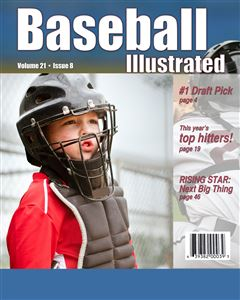 Catcher at a baseball game on the cover of a custom Baseball Magazine