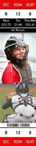 Kid baseball catcher in his gear on a Personalized Sport Photo Ticket
