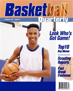 basketball player holds a basketball on the cover of a custom Magazine