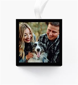 Newlywed couple kissing on a black and white Custom Cube Ornaments