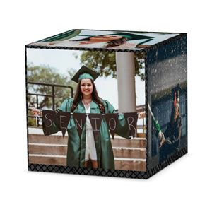 female graduating senior on custom black diamond cube