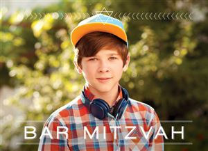 Smiling boy with headphones around his neck and a hat on a Custom Barmitzvah Invitation Card