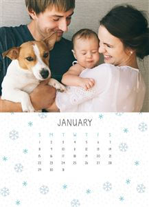 Mom and Dad holding their newborn baby and pet dog on a Custom Month Of January Desk Calendar