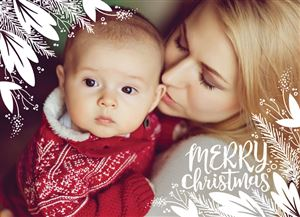 Mom laying with her newborn baby on a Custom Christmas Card