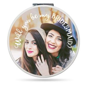 Two smiling girls with hats on a Custom Compact Mirror