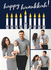 Mom and Dad with their newborn baby on a Happy Hannukah Card