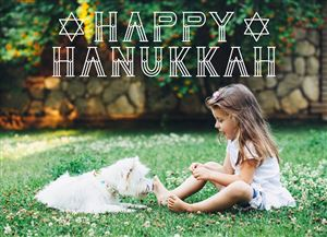 Daughter playing with her dog in the backyard on a Custom Happy Hanukkah Card