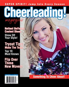 Cheerleader smiling on the cover of a custom cheerleading Magazine