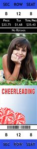 Cheerleader smiling on a Personalized Sport Photo Ticket