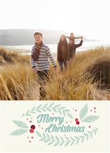 Family of three by the lake on a Custom Christmas Holiday Card