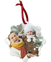 Mom laughing with her daughter on a Custom Metal Christmas Photo Ornament