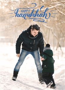 Dad and Son playing in the snow on a Custom Happy Hanukkah Card