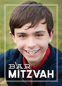 Smiling boy on his Custom Barmitzvah Invitation Card