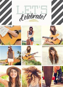 Photo Gallery of a teenage girl playing the guitar on a Custom Graduation Card